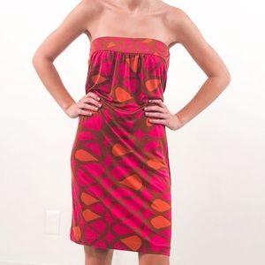 Trina Turk XS Silk Pink Print Strapless Dress